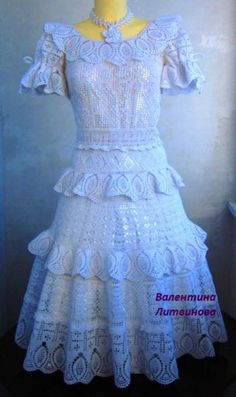 Crochet white gypsy dress ♥LCD-MRS♥ with diagrams. Lovely art, it's amazing how different diagrams make a beauty like this. Thread Crochet, Crochet Lace, The Dress, Dress Skirt, Dolly Fashion, Crochet Clothes, Crochet Dresses, Gypsy Dresses, Yarn Crafts