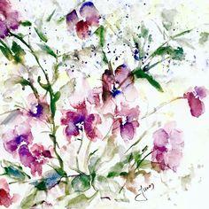 Cranesbill. Watercolour on Canson, grain fin, cold pressed, 100 % pur cotton, 31 x 41 cm.