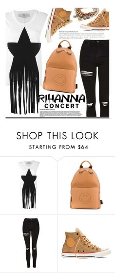 """""""Hot Ticket: Rihanna Concert"""" by justkejti ❤ liked on Polyvore featuring STELLA McCARTNEY, Anya Hindmarch, Topshop, Converse, Lizzy James, denim, converse, backpack and Rihanna"""