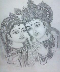 radha krishna by pavan agarwal Radha Krishna Sketch, Ganesha Sketch, Ganesha Drawing, Ganesha Art, Krishna Art, Radha Krishna Wallpaper, Radhe Krishna, Lord Krishna Sketch, Shiva Sketch