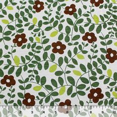 Green Brown Viney Floral Cotton Jersey Knit Fabric