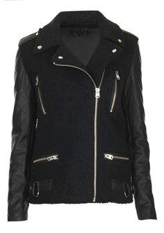 Black Contrast Leather Long Sleeve Zipper Jacket.