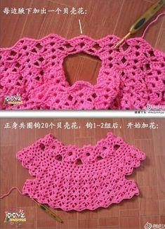 Patron para hacer un vestido a crochet para [] # # # # # # # # and FabricThis Pin was discovered by Bet Crochet Puff Flower, Crochet Yoke, Crochet Stitches, Crochet Patterns, Baby Girl Crochet, Crochet Baby Clothes, Crochet For Kids, Crochet Dresses, Diy Crafts Knitting