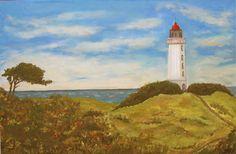 Der Leuchtturm auf dem Dornbusch auf Hiddensee #Leuchtturm #Malerei #Hiddensee