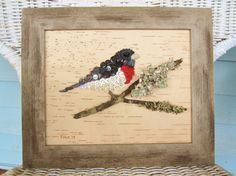Button Art, Rose Breasted Grosbeak Wall Hanging on Birch Bark in a Barnboard Frame, Mothers Day Gft. $37.50, via Etsy.
