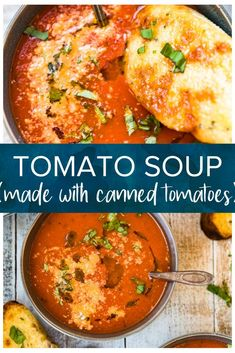 This simple tomato soup recipe made with canned tomatoes is seriously the best you are going to try! Served with cheesy crostini it's perfect comfort food. Easy to make it's ready to enjoy in 30 minutes. Canned Tomato Recipes, Pasta Recipes, Cooking Recipes, Best Tomato Soup, Can Tomato Soup Recipe, Simple Tomato Soup, Tomato Tomato, Crostini, Broccoli Pasta