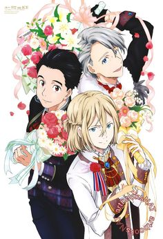 Yuri!!! on Ice (ユーリ!!! on ICE)Yuuri, Yurio and Victor celebrate the finish with bouquets and fancy costumes in the new poster art for Animage Magazine (Amazon US | eBay) illustrated by key animator Tomoyo Sawada (澤田知世).