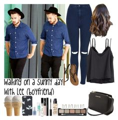 """""""Walking on a sunny day withLee (boyfriend)"""" by jaynnelinsstyles ❤ liked on Polyvore featuring Payne, Topshop, Monki, MICHAEL Michael Kors, Billabong, H&M, NARS Cosmetics, shu uemura, Bobbi Brown Cosmetics and Maison Margiela"""
