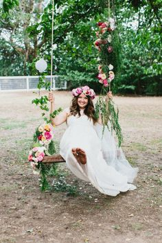 Floral crown plus floral swing! | Photography by Erin   Tara / erinandtara.com.au/blog/kirby-jack/, Floral Design Styling by Prunella / prunella.com.au