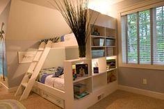 Love the book case on the end; could be used for a single level bed separating two beds in one room