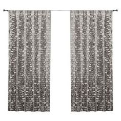 """Tieback curtain in grey with textured circular ruffles.     Product: Curtain Construction Material: PolyesterColor: GreyDimensions: 84"""" H x 40"""" WNote: Image depicts two panels, but price is for one"""