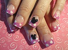 Polka dot and Mickey Mouse nail art. Mickey Mouse Nail Art, Minnie Mouse Nails, Disney Nail Designs, Cute Nail Designs, Hot Nails, Hair And Nails, Cruise Nails, Finger Art, Nails For Kids