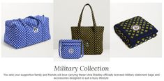 You and your supportive family and friends will love carrying these Vera Bradley officially licensed Military statement bags and accessories designed to suit a busy lifestyle. Beautiful Bags, Vera Bradley, Louis Vuitton Damier, Military, Shoulder Bag, Suits, Lifestyle, Friends, Pattern