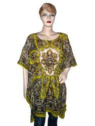 Bohemian Top Olive Yellow Poncho Cotton Printed Short Caftan Caftan for Women  $16.00