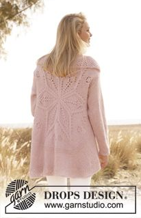 Knitted DROPS jacket worked in a circle with lace pattern in Alpaca and Kid-Silk. Size: S - XXXL. ~ DROPS Design