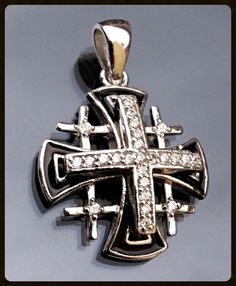 .925 Sterling Silver Nugget Latin Cross Charm Pendant