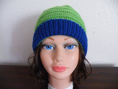 Knitted Green and Dark Blue  Hat