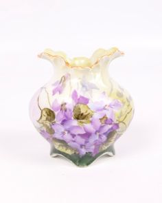 Vintage Hand Painted Purple Violets Vase, via Etsy.
