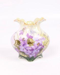 Vintage Hand Painted Purple Violet Vase