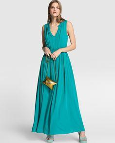 Vestido largo de mujer Naf Naf en verde esmeralda