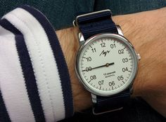 Luch One Hand + NATO Militray Watch Strap NAVY BLUE. Classic White+Navy Striped Jersey from Armor Lux