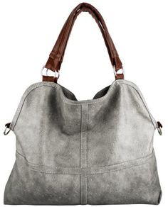 Everyday Free Style Gray Tan Soft Embossed Ostrich Double Handle Oversized Hobo Satchel Purse Handbag Tote Bag, $29.50