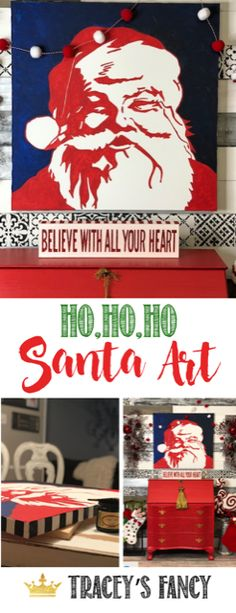 I had seen this picture before and loved it so I decided to create my own version! - By Tracey's Fancy Christmas Wall Art, Christmas Diy, Xmas, Whimsical Painted Furniture, Diy Canvas Art, Canvas Ideas, Red Wall Art, Red Home Decor, Merry Little Christmas