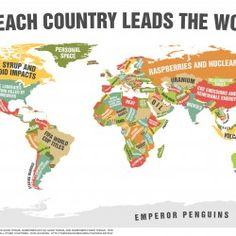 This map shows the specialty of every single country in the world.
