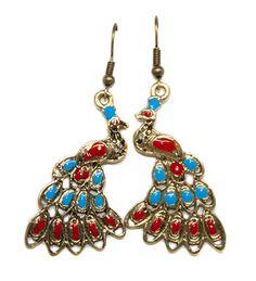 antiqued gold enameled peacock drop earrings