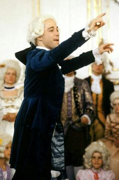"""Tom Hulce portrays Wolfgang Amadeus Mozart conducting in the marvelous film, """"Amadeus,"""" The Best Films, Great Movies, Tom Hulce, Amadeus Mozart, Music Humor, Music Memes, Digital Film, Scene Image, Chef D Oeuvre"""