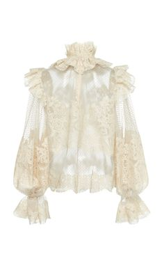 Ruffled Flocked Tulle Top by Zimmermann Look Fashion, Womens Fashion, Fashion Design, Fashion Tips, Carolina Herrera Bridal, Mode Kawaii, Leather Midi Skirt, Mode Hijab, Aesthetic Clothes