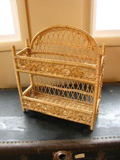 Vintage Wicker Shelf / Natural Wicker Shelf / Unpainted Wicker Shelf / Wicker  Bathroom Shelf / Craft Shelf Craft Organization / Rattan Shelf