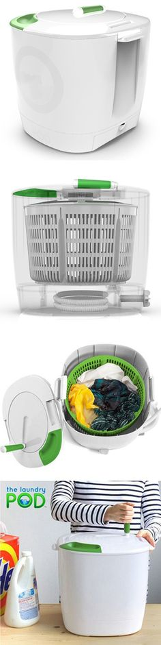 Laundry POD - portable, eco-friendly washer designed for washing small loads of laundry using a minimal amount of water and no electricity. Easy to use manually operated spinning, washing and draining system can clean clothes in less than 10 minutes, plus a workout!