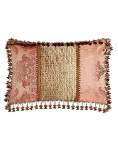 "Pillow with Beaded Silk Center, 15"" x 23"""