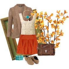 Orange skirt, lacy white top, turq jewelry, chambray or denim jacket, leopard heels