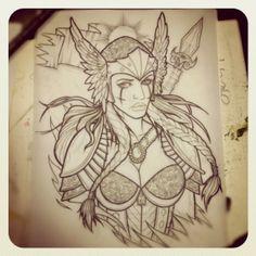 Valkyrie Life Tattoos, Body Art Tattoos, Sleeve Tattoos, Tatoos, Valkerie Tattoo, Tattoo Drawings, Spartan Tattoo, Norse Symbols, Religious Tattoos