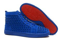 Christian Louboutin Louis Spikes Flat Mens High Top Suede Sneakers Blue