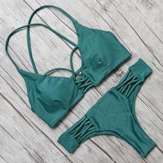 Cross Bandage Low Waist Bikini Set