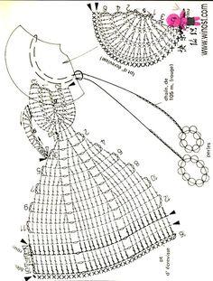 crinoline lady a crochet Filet Crochet, Marque-pages Au Crochet, Crochet Dollies, Crochet Doll Dress, Crochet Motifs, Crochet Girls, Crochet Diagram, Crochet Stitches Patterns, Crochet Chart