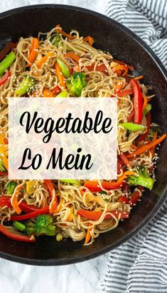 This flavorful vegetable lo mein is so easy to prepare, healthy and the bonus is it vegan and gluten-free. Made with gluten-free ramen noodles stir-fried with carrots, spinach, pepper, and a delicious lo mein sauce. Vegetable Recipes, Vegetarian Recipes, Healthy Recipes, Healthy Cooking, Free Recipes, Whole Food Recipes, Dinner Recipes, Cooking Recipes, Vegetable Lo Mein
