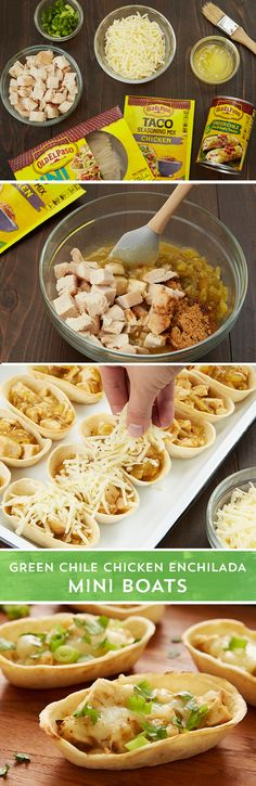 These easy, cheesy enchilada boats are fun, festive and delicious too! With just 15 minutes of prep time these Green Chile Chicken Enchilada Mini Boats will be a gameday fav. Combine Old El Paso™ green chile enchilada sauce, Old El Paso™ chopped green chiles, Old El Paso™ chicken taco seasoning, and chopped cooked chicken for an easy filling. Spoon the enchilada mix into baked Old El Paso™ mini boats and top with shredded Monterey Jack cheese before baking for 25 minutes. Serve warm topped…