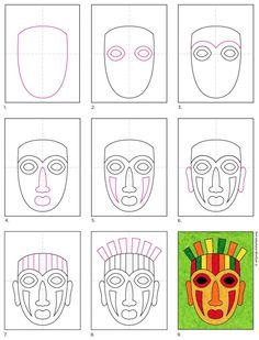 African Art For Kids, African Art Projects, School Art Projects, Projects For Kids, Cara Tribal, African Drawings, Mask Drawing, Ecole Art, Art Lessons For Kids