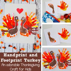 Adorable Handprint and Footprint Turkey Thanksgiving Kids: Easy to make for kids to decorate for Thanksgiving or give to people in their life they are thankful for (like mom and dad, grandma and grandpa). (November, kids craft, Preschool, Kindergarten, Thanksgiving Craft)