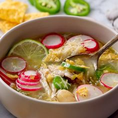 This simple and healthy Jalapeño Lime Chicken Soup has white beans, salsa verde, and a hit of fresh jalapeño and lime juice. Mexican Food Recipes, Soup Recipes, Chicken Recipes, Dinner Recipes, Cooking Recipes, Healthy Recipes, Ethnic Recipes, Healthy Soup, Healthy Chicken Soup