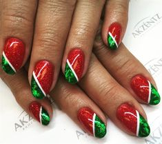 Day 350: Red, Green & Gold Nail Art - - NAILS Magazine