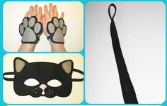 Black cat felt mask tail cuffs set handmade cat by FeltFamily