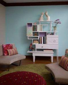 repurposed furniture into a wall unit
