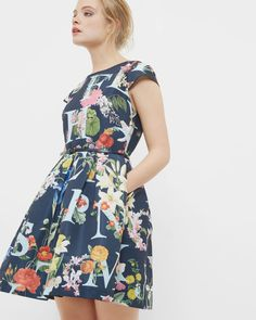 A-Z Floral tulip dress - Navy | Dresses | Ted Baker ROW