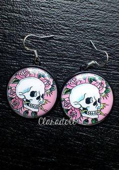 "Boucles d'oreilles crochets argent 925  ""Rose Skulls"""