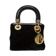 Dior mini Lady D bag in velvet | LaDoubleJ (2,720 AED) ❤ liked on Polyvore featuring bags, handbags, miniature purse, black mini bag, mini handbags, black handbags and velvet purse